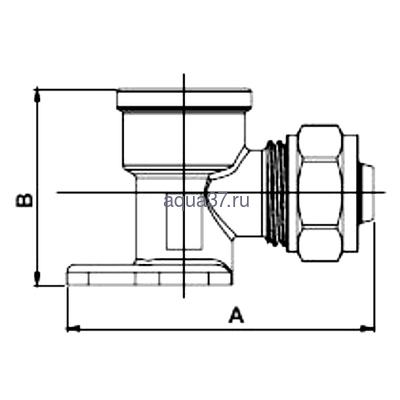 """Обжимной угольник с креплением 16 x 1/2"""" с внутренней резьбой Frap (фото, вид 1)"""