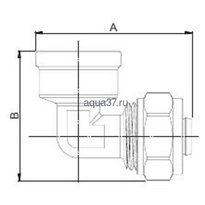 """Обжимной угольник 16 x 1/2"""" с внутренней резьбой Frap (фото, вид 1)"""