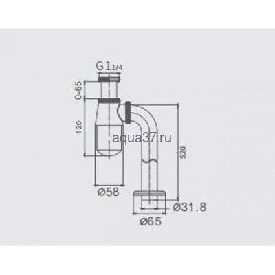 """Сифон для раковины без выпуска 1 1/4"""" х 32 хромированный Frap F81 (фото, вид 1)"""
