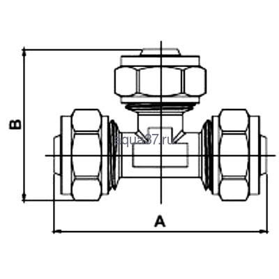 Обжимной тройник 16 x 20 x 16 Frap (фото, вид 1)