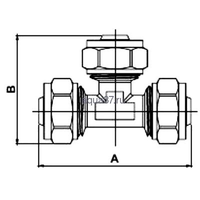 Обжимной тройник 32 x 16 x 32 Frap (фото, вид 1)