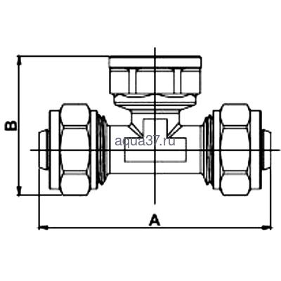 """Обжимной тройник 32 x 1/2"""" с внутренней резьбой Frap (фото, вид 1)"""