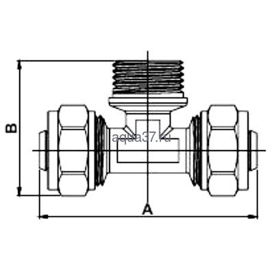 """Обжимной тройник 16 x 1/2"""" с наружной резьбой Frap (фото, вид 1)"""