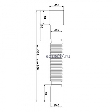 Гибкая труба 40 x 40/50 T003 Аквант (фото, вид 2)