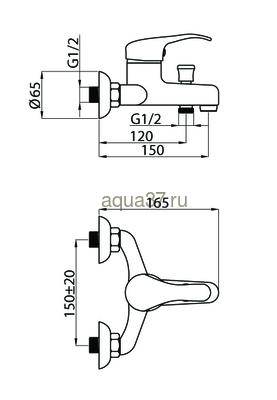 Смеситель для ванны Rubineta P-10 Sher (фото, вид 2)