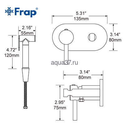 Смеситель для биде Frap F7505 (фото, вид 6)