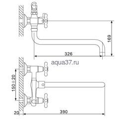 Смеситель для ванны Gappo G2265. Вид 2