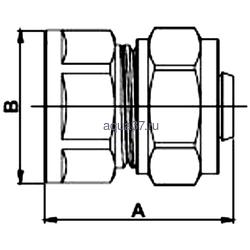 """Обжимная муфта 16 x 3/4"""" с внутренней резьбой Frap. Вид 2"""