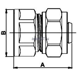 """Обжимная муфта 26 x 3/4"""" с внутренней резьбой Frap. Вид 2"""