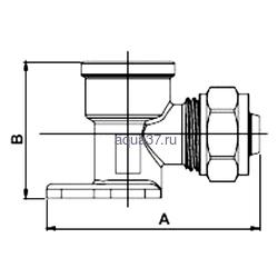 """Обжимной угольник с креплением 20 x 3/4"""" с внутренней резьбой Frap. Вид 2"""
