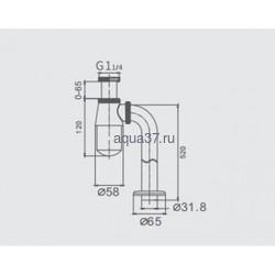 """Сифон для раковины без выпуска 1 1/4"""" х 32 хромированный Frap F81. Вид 2"""