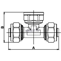 """Обжимной тройник 16 x 1/2"""" с внутренней резьбой Frap. Вид 2"""
