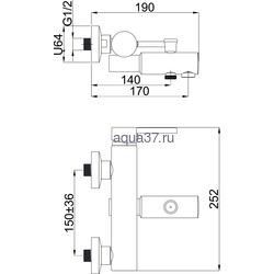 Смеситель для ванны Rubineta Ultra-10. Вид 2