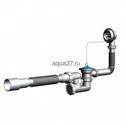 Сифон для ванны регулируемый с переливом и гибкой трубой 40 x 40/50 V255 Аквант