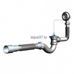 Сифон для ванны с переливом и гибкой трубой 40 x 40/50 V155 Аквант