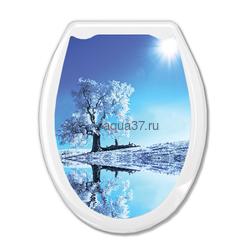 """Крышка д/унитаза """"Океан"""" белое дерево"""