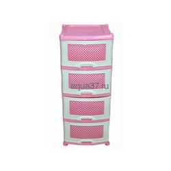 Комод Плетёнка 4 секции бело-розовый